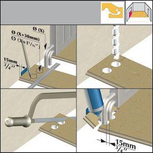 Схема укладки напольного покрытия возле труб