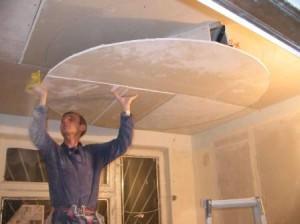 Монтаж фигурного гипсокартонного потолка