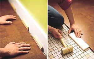Устраняем зазоры деревянным бруском и молотком