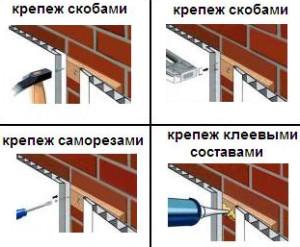 Возможные варианты крепежа панелей