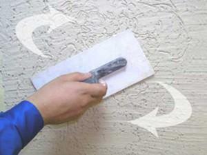 Схема вращения затирки по стене