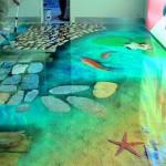 Наливной пол с морскими флоками